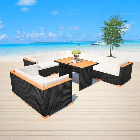 GARDEN DINING RATTAN POLY WOOD TOP SET (32 PCS) - BLACK - Loungeout