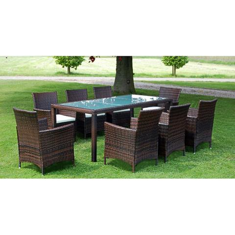 GARDEN FURNITURE POLY RATTAN SET (17 PCS) - Loungeout