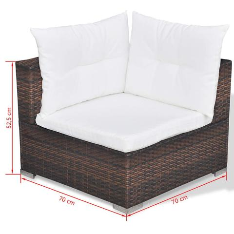 GARDEN SOFA POLY RATTAN SET (17 PCS) - BROWN - Loungeout