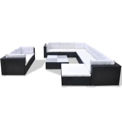 GARDEN SOFA POLY RATTAN SET (32 PCS) - BLACK