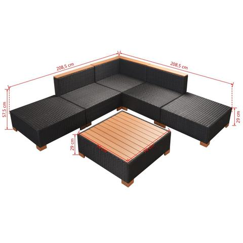 GARDEN SOFA RATTAN POLY WOOD TOP SET (15 PCS) - BLACK - Loungeout