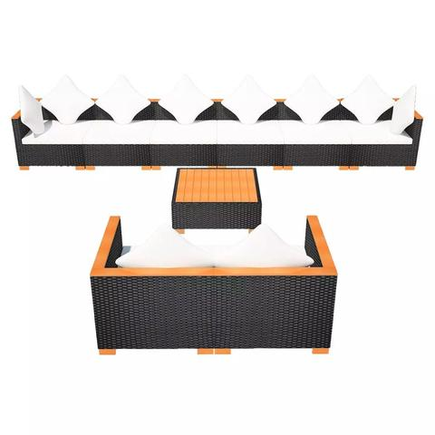 GARDEN SOFA RATTAN POLY WOOD TOP SET (27 PCS) - BLACK - Loungeout