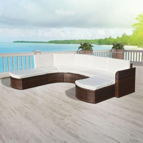 GARDEN SOFA POLY RATTAN SET (16 PCS)