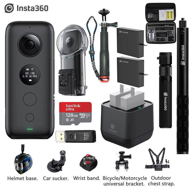 Insta360 ONE X 5.7K VR 360 Action Camera Battery Charger Bullet Time Invisible Selfie Stick