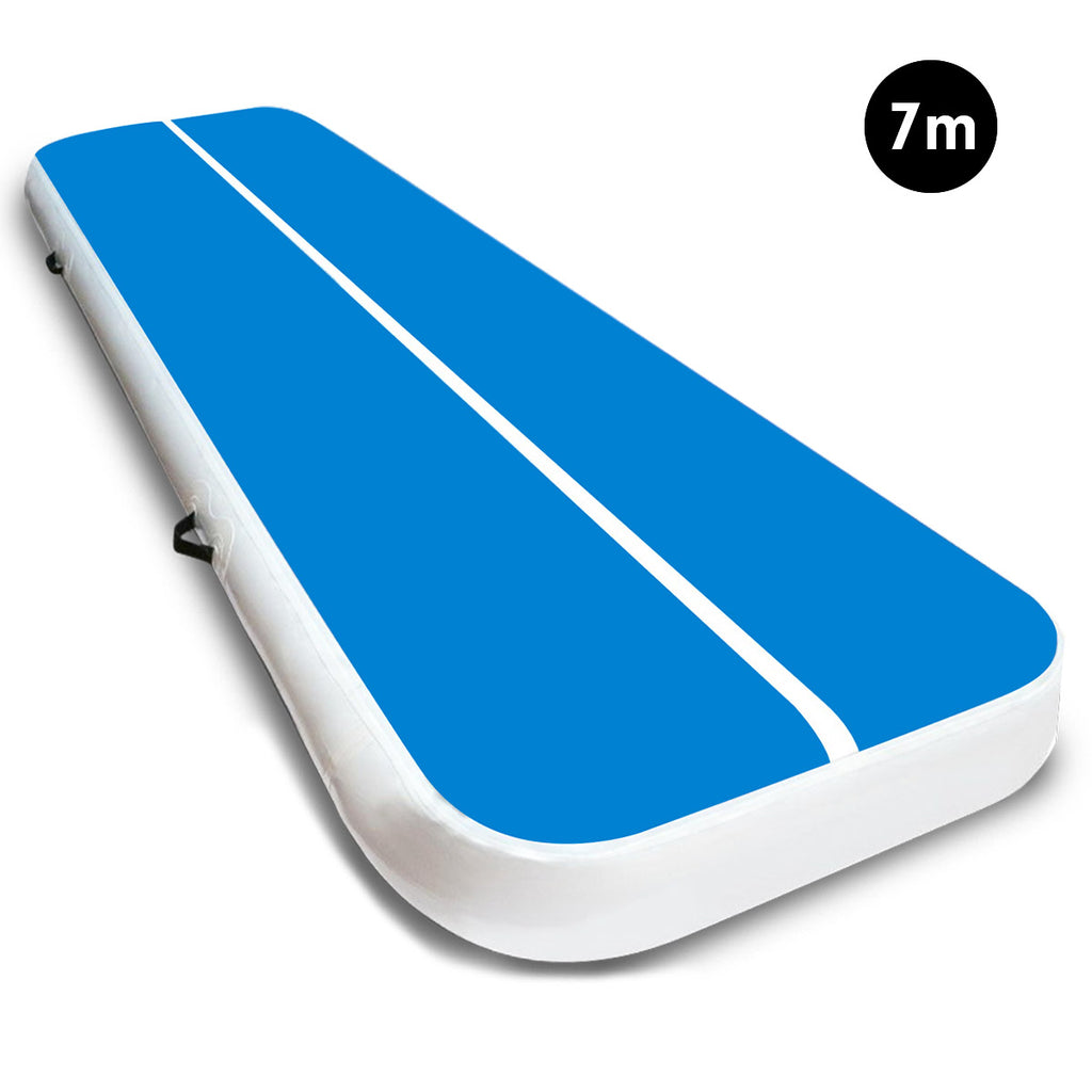 7m Airtrack Tumbling Mat Gymnastics Exercise 20cm Air Track Blue White