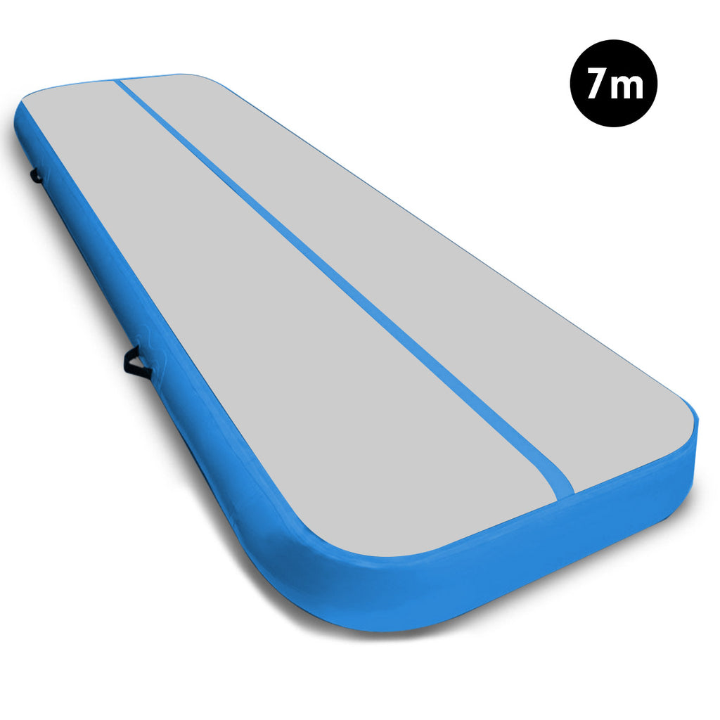 7m Tumbling Mat Gymnastics Exercise 20cm Air Track Grey Blue