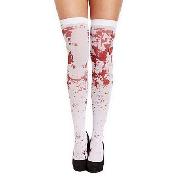 OVER THE KNEE SOCKS Fake Red Blood Stained Bloody Halloween Costume White Horror