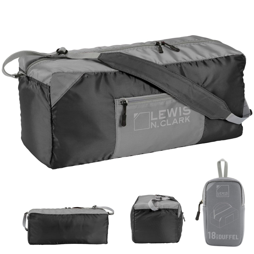 "Lewis N. Clark 18"" Packable Foldable Travel Compact Duffle Bag - Black/Grey"