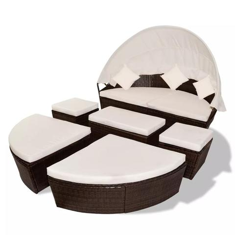 LOUNGE BED WITH CANOPY 2-IN-1 POLY RATTAN (15 PCS) - BROWN - Loungeout