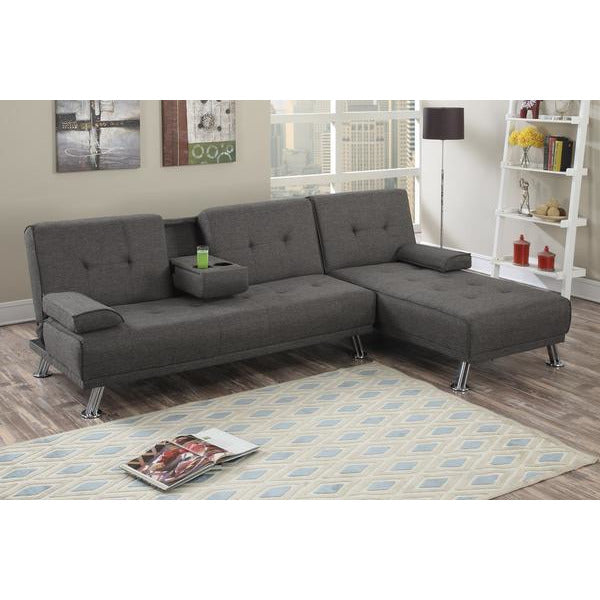Manhattan Sofa Bed with Chaise (Ash) - Loungeout