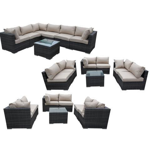 NUSA WICKER RATTAN WEAVE POOL PATIO LOUNGE 7PC SET - Loungeout