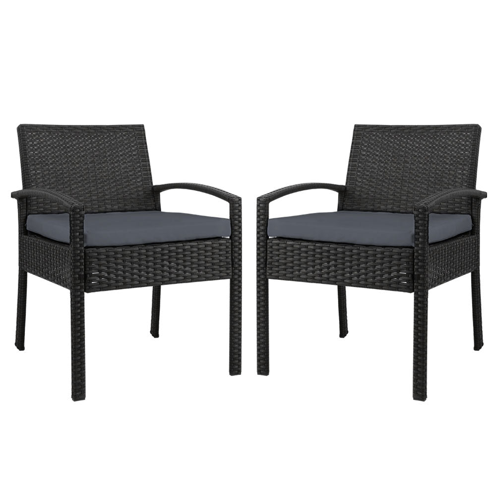 Set of 2 Outdoor Dining Chairs Wicker Chair Patio Garden Furniture Lounge Setting Bistro Set Cafe Cushion Gardeon Black