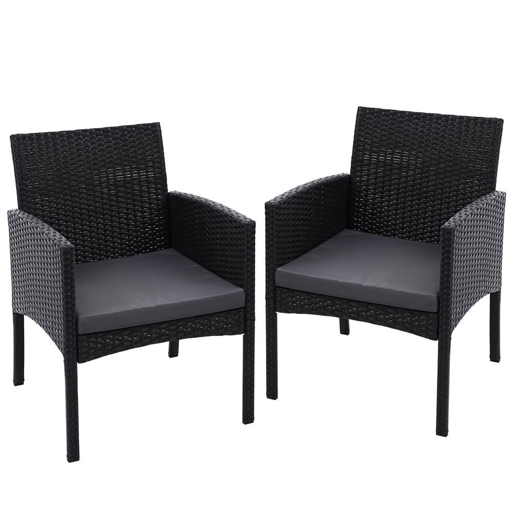 Set of 2 Outdoor Bistro Chairs Patio Furniture Dining Chair Wicker Garden Cushion Gardeon