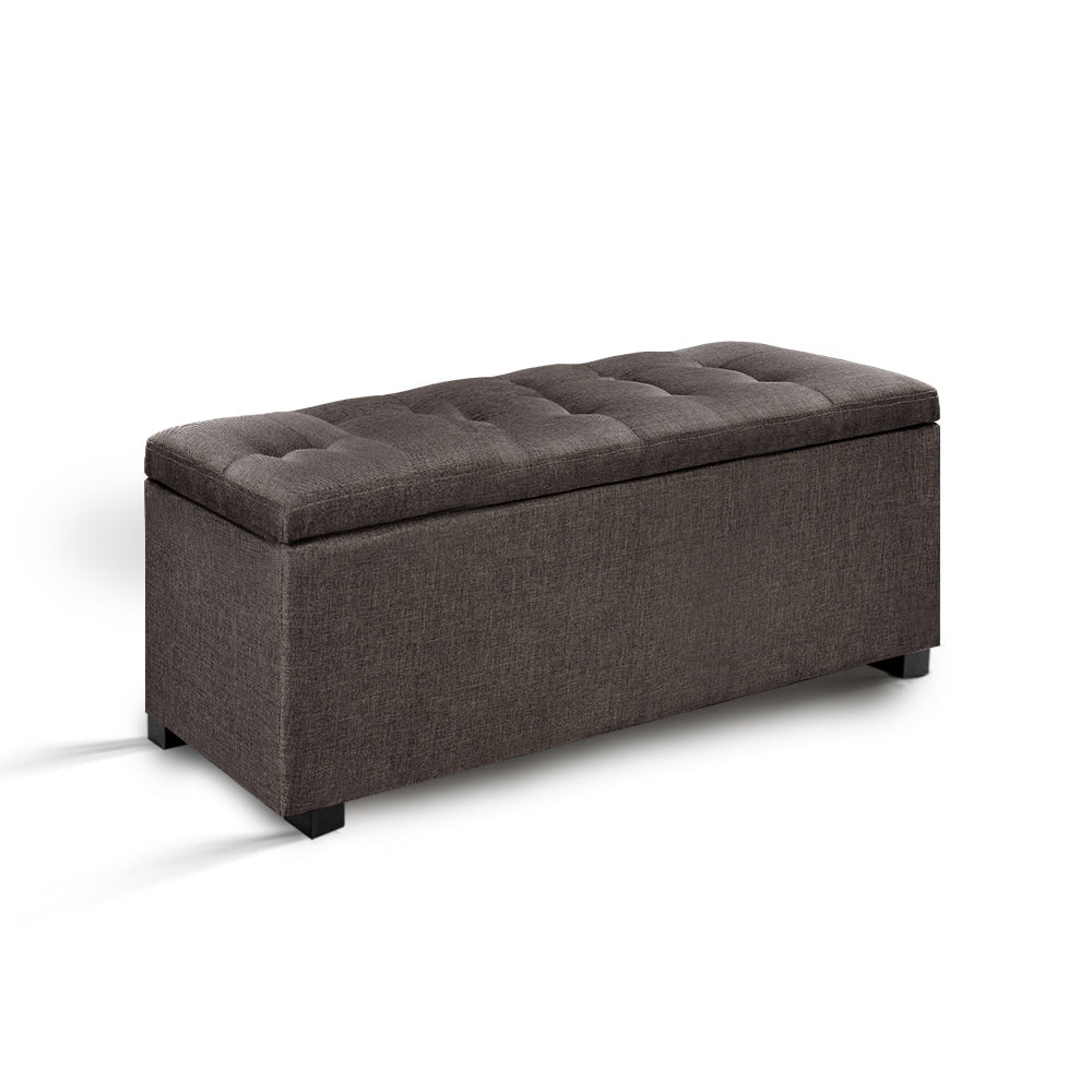 Artiss Large Fabric Storage Ottoman - Brown