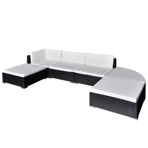 OUTDOOR LOUNGE POLY RATTAN SET (16 PCS) - BLACK - Loungeout