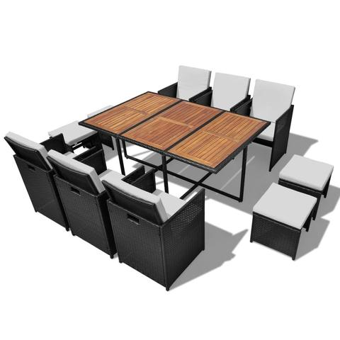 OUTDOOR POLY RATTAN ACACIA WOOD DINING SET (27 PCS) - BLACK - Loungeout