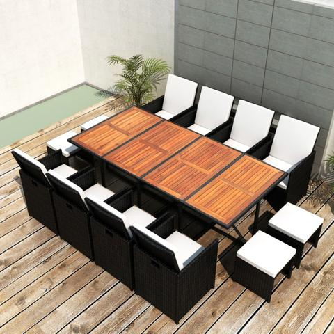 OUTDOOR POLY RATTAN ACACIA WOOD DINING SET (33 PCS) - BLACK - Loungeout