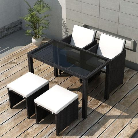 OUTDOOR POLY RATTAN DINING SET (11 PCS) - BLACK - Loungeout