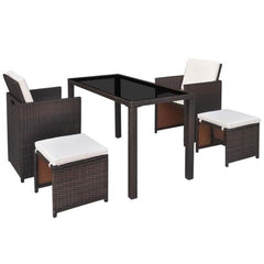 OUTDOOR POLY RATTAN ACACIA WOOD DINING SET (11 PCS) - BROWN - Loungeout
