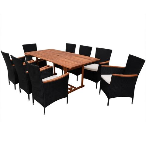 OUTDOOR POLY RATTAN DINING SET (17 PCS) - BLACK - Loungeout