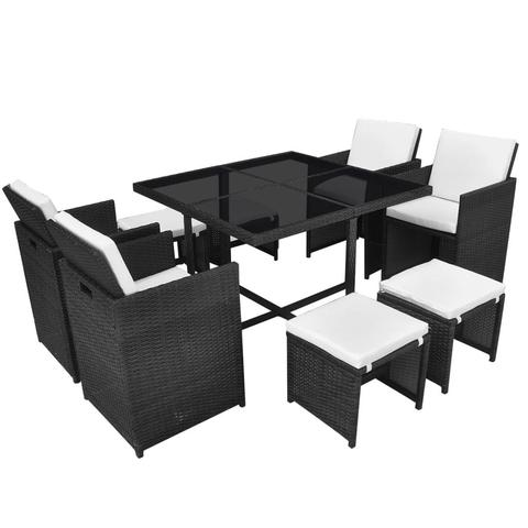 OUTDOOR POLY RATTAN DINING SET (21 PCS) - BLACK - Loungeout