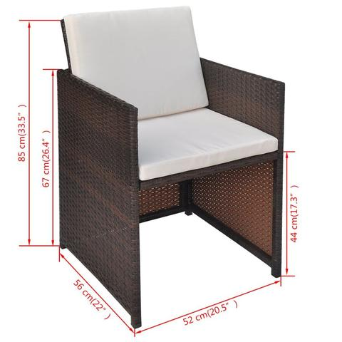 OUTDOOR POLY RATTAN DINING SET (21 PCS) - BROWN - Loungeout