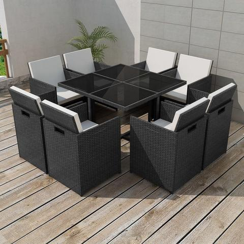 OUTDOOR POLY RATTAN DINING SET (25 PCS) - BLACK - Loungeout