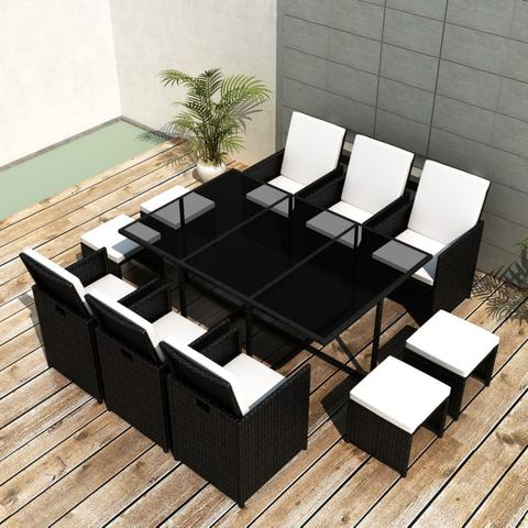 OUTDOOR POLY RATTAN DINING SET (27 PCS) - BLACK - Loungeout
