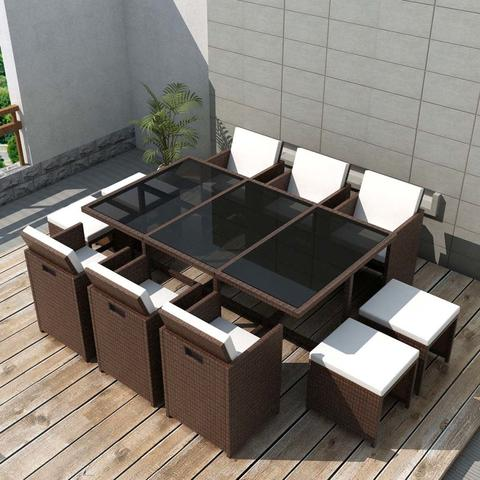 OUTDOOR POLY RATTAN DINING SET (27 PCS) - BROWN - Loungeout