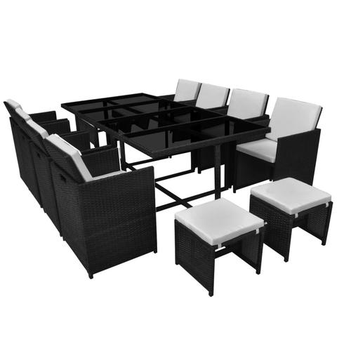 OUTDOOR POLY RATTAN DINING SET (33 PCS) - BLACK - Loungeout