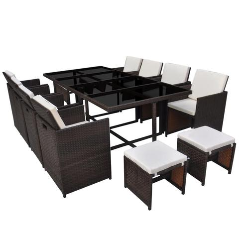 OUTDOOR POLY RATTAN DINING SET (33 PCS) - BROWN - Loungeout