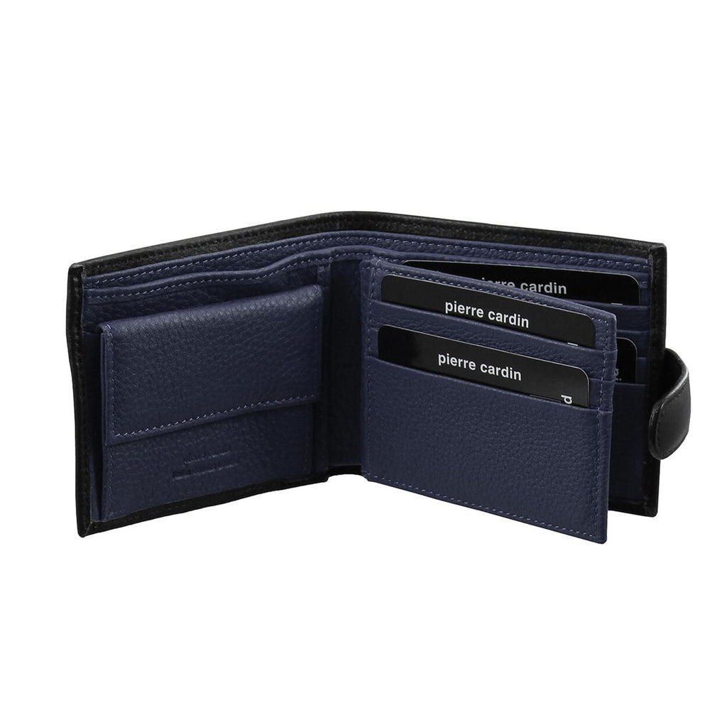 Pierre Cardin Men's Italian Leather Two Tone Wallet - Black Navy