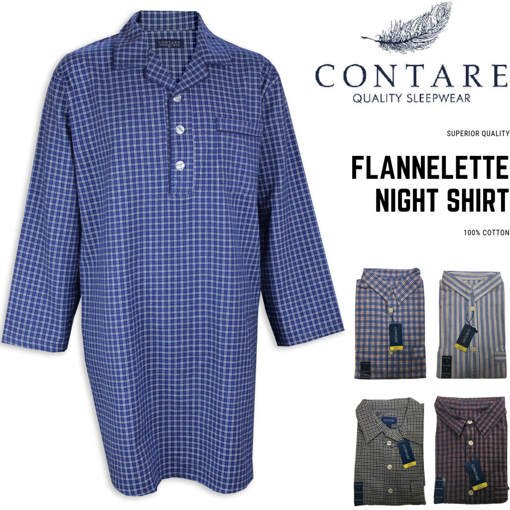 CONTARE Men's Flannelette NIGHT SHIRT 100% COTTON Pyjamas PJs Sleepwear Nightie