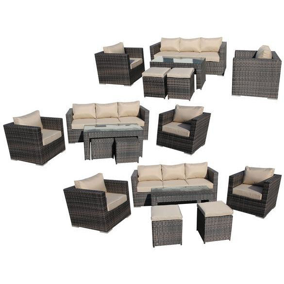 PADANG WICKER RATTAN OUTDOOR SOFA LOUNGE 6PC SET - Loungeout