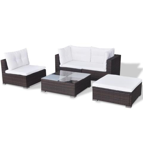 POLY RATTAN 14-PIECE GARDEN SOFA SET - BROWN - Loungeout