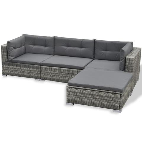 POLY RATTAN 17-PIECE GARDEN SOFA SET (GREY) - Loungeout