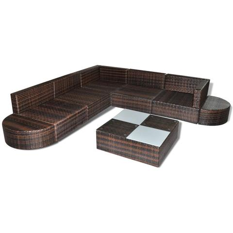 POLY RATTAN 27-PIECE GARDEN SEAT SET - BROWN - Loungeout