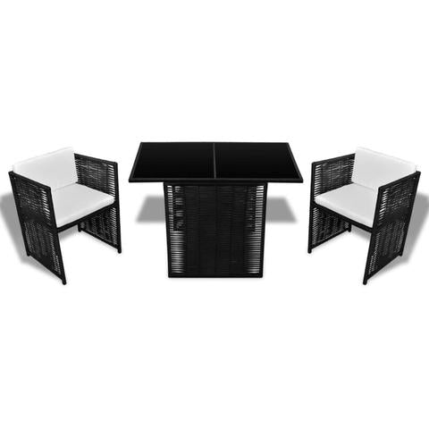 POLY RATTAN 7-PIECE GARDEN DINING SET - BLACK - Loungeout