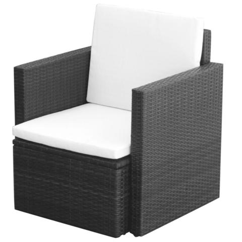 POLY RATTAN ARMCHAIR - BLACK - Loungeout