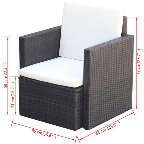POLY RATTAN ARMCHAIR - BROWN - Loungeout