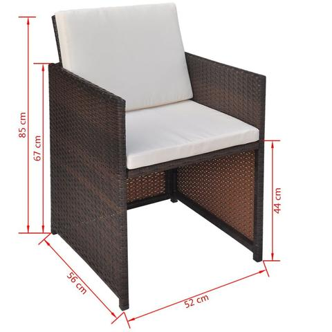 POLY RATTAN DINING CHAIRS (2 PCS) - BROWN - Loungeout