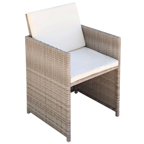 POLY RATTAN DINING CHAIRS (2 PCS) - GREY/BEIGE - Loungeout