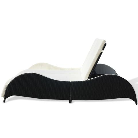 POLY RATTAN DOUBLE SUN LOUNGER - BLACK - Loungeout