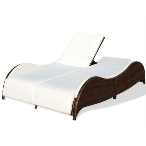 POLY RATTAN DOUBLE SUN LOUNGER - BROWN - Loungeout