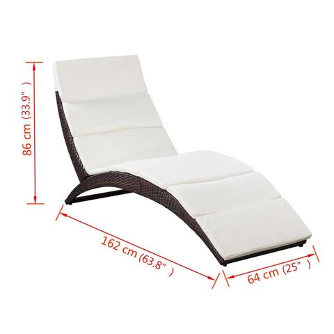 POLY RATTAN FOLD-ABLE SUN LOUNGER WITH CUSHION - BROWN - Loungeout