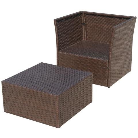 POLY RATTAN GARDEN CHAIR SET (5 PCS) - BROWN - Loungeout