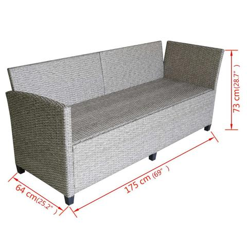 POLY RATTAN GARDEN CORNER SOFA SET (12 PCS) - GREY - Loungeout