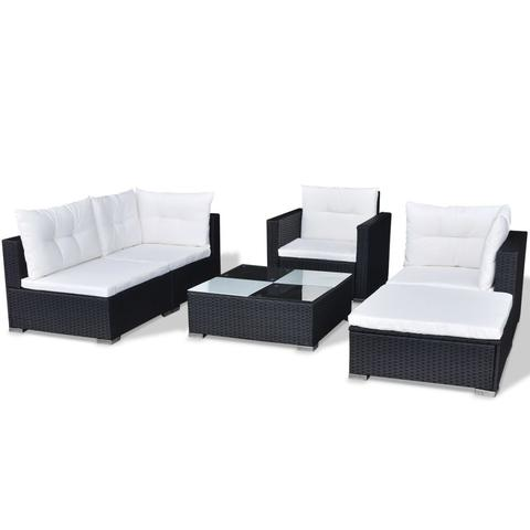 POLY RATTAN GARDEN SOFA SET (17 PCS) - BLACK - Loungeout