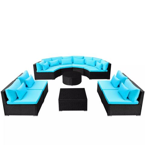 POLY RATTAN GARDEN SOFA SET WITH SUN LOUNGERS - BLUE - Loungeout