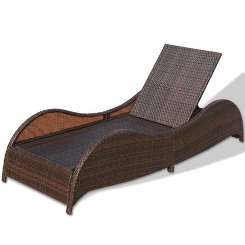BROWN POLY RATTAN SUNLOUNGER - Loungeout